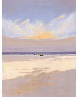 Marina minimalista de Playa Mediterranea al Amanecer.Vertical. Home