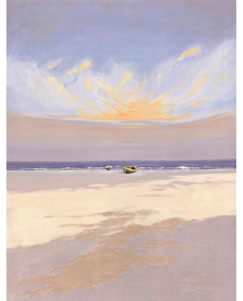 Marina minimalista de Playa Mediterranea al Amanecer.Vertical. Mari...