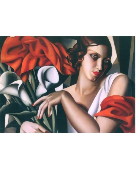 TAMARA LEMPICKA mujer con flores en mural horizontal PINTURA GICLEE Home