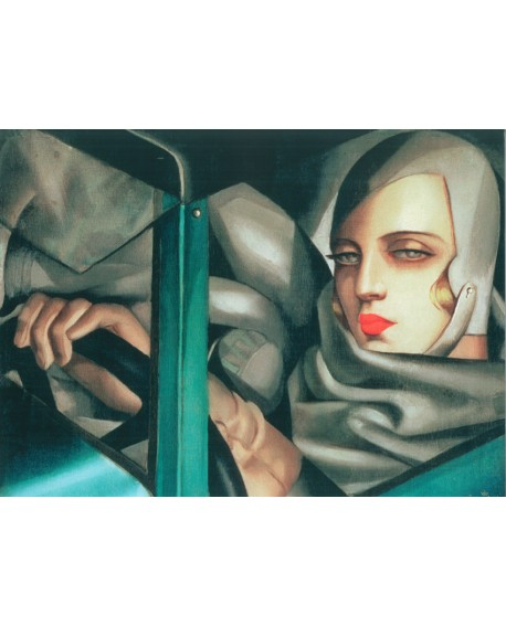 TAMARA LEMPICKA mujer en Bugatti en mural horizontal PINTURA GICLEE Home