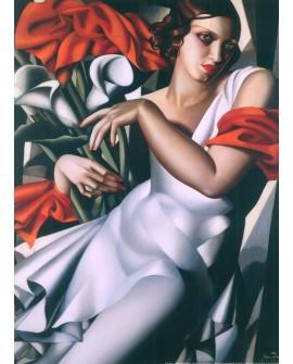 TAMARA LEMPICKA mujer con flores en mural gigante VERTICAL PINTURA Art Deco