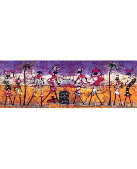 Danza africana Cuadro mural Etnico Tribal Guerreros panoramico Cuadros Horizontales