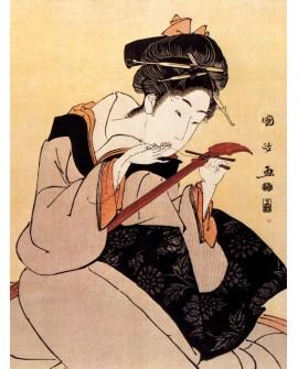 geisha japonesa tocando el arpa cuadro clasico oriental pintura vertical Home
