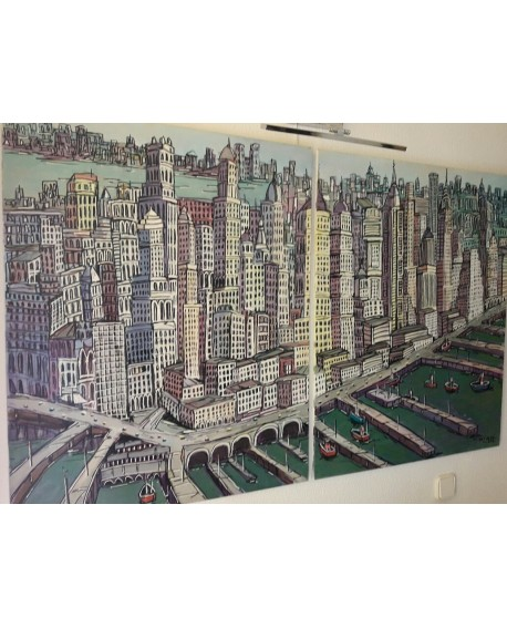 ORIGINAL J. Alcala Panoramica New York La gran Manzana pintura PAREJA DIPTICO 165x100 cm Home