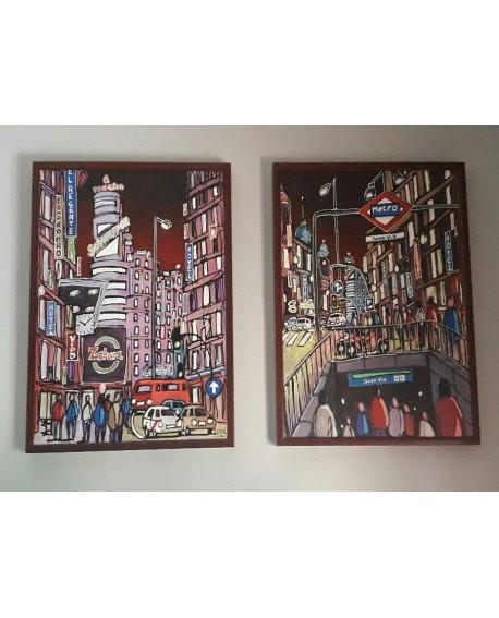 ORIGINAL J. Alcala Panoramica de La gran Via de Madrid pintura PAREJA DIPTICO 150x85 cm Home