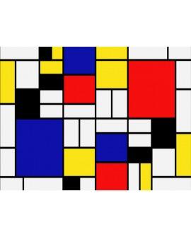 Mondrian cuadrados de colores - abstracto moderno mural