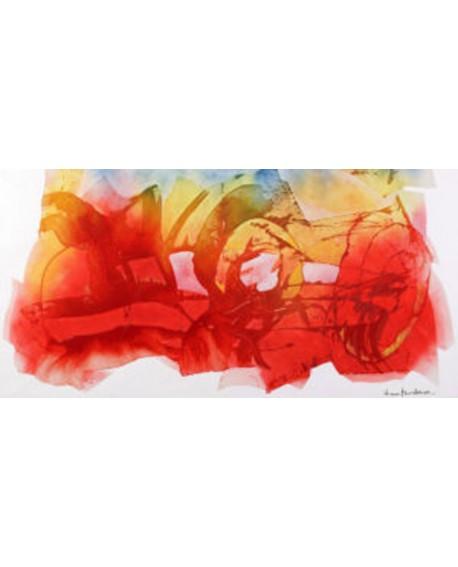 nino mustica cuadro mural rojo grande abstracto 2010 Cuadros Horizontales