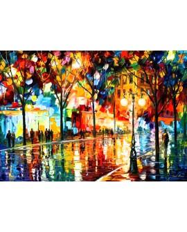 Leonid Afremow paris bajo la lluvia cuadro abstracto impresionista