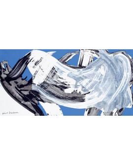 nino mustica cuadro mural grande abstracto azul Cuadros Horizontales