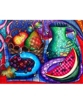 Bodegon estampado con avispas - cuadro abstracto de estilo naif