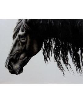 Caballo negro. cuadro abstracto figurativo. Mural en tablero