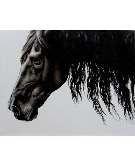 Caballo negro. cuadro abstracto figurativo. Mural en tablero Home