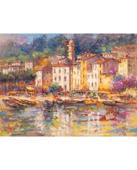 luigi florio cuadro mural paisaje porto fino italia Cuadros Horizontales