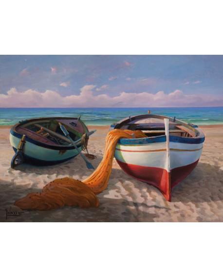 adriano galasso cuadro mural paisaje barcas de pesca Cuadros Horizontales