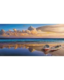 adriano galasso cuadro mural paisaje playa con barcas Cuadros Horizontales