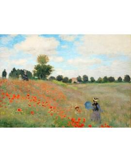 monet cuadro impresionista paisaje campo amapolas