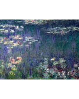 monet cuadro impresionista plantas y flores en lago Home