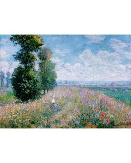 monet cuadro impresionista paisaje pradera con alamos Home