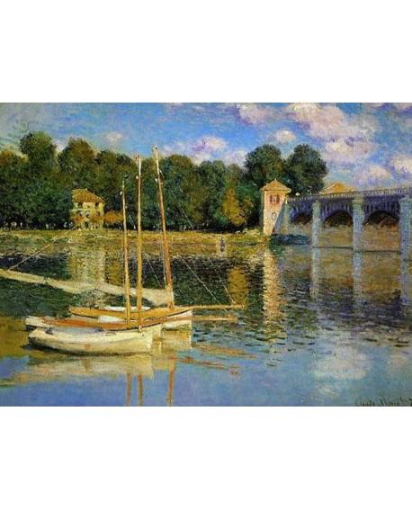 monet cuadro impresionista paisaje con puente y barco Home