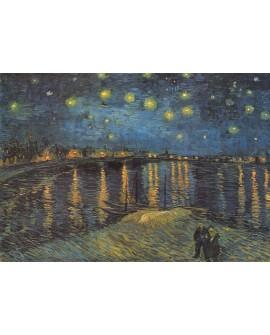 Van Gogh noche estrellada en la bahia. cuadro impresionista en tablero