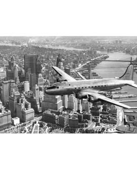 Fotografia vintage cuadro avion sobre manhattan nyc