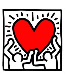 Keith Haring corazon y amistad 2 - Arte Graffiti en cuadro