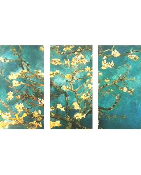 Van Gogh Triptico Arbol Almendro en flor impresionista Cuadros Horizontales