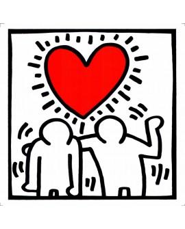 Keith Haring corazon y amistad  - Arte Graffiti en cuadro