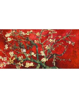 van gogh IMPRESIONISTA PANORAMICO ROJO almendro en flor Cuadros Horizontales