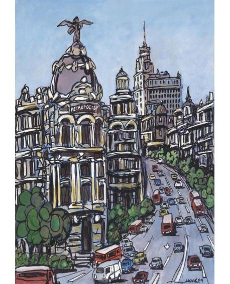 Alcala: Circulacion en Gran Via. Madrid ciudad de dia. Cuadro Comic Tipo Naif Home