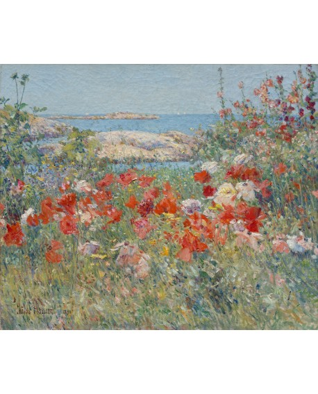 childe hassam paisaje del jardin de las amapolas impresionista Home