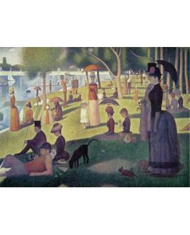georges seurat  impresionista personajes en el jardin del lago