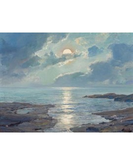 frederick judd waugh paisaje mar la luna resucitada