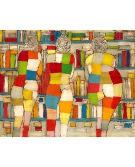Jose Villanueva: Las 3 edades de la mujer. Desnudos Abstractos en la Biblioteca.