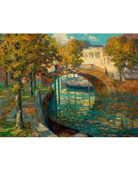 ossip leonovitch linde cuadro impresionista vista del canal Home