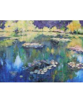 Claude Monet - Pintura Impresionista Nenufares del lago. Mural