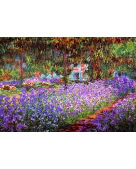 Monet : jardin rosa en primavera. Cuadro mural impresionista.
