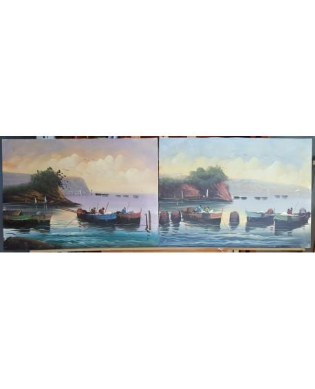 marina gallega ORIGINAL. Pintura Española en PAREJA DIPTICO 150x50 cm Home