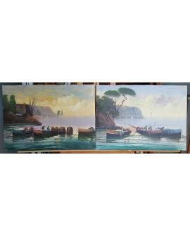 marina gallega 2 ORIGINAL. Pintura Española en PAREJA DIPTICO 150x50 cm Home
