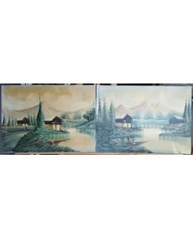Paisajes pirineos ORIGINAL. Pintura Española en PAREJA DIPTICO 150x50 cm Home