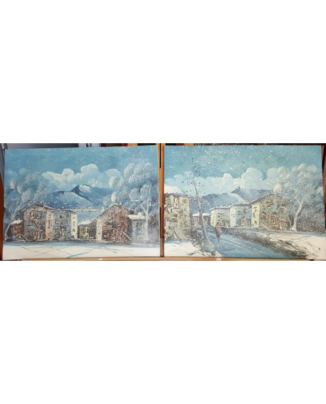 PaisajeS CON NIEVE ORIGINAL. Pintura Española en PAREJA DIPTICO 150x50 cm Home