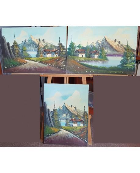Paisajes TIROLESES PINTURA ORIGINAL OLEO en TRIPTICO 70X50 cm c/u) CONJUNTO 3 piezas Home