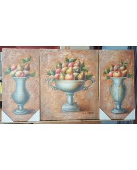bodegon fruta clasico PINTURA ORIGINAL OLEO en TRIPTICO 120x60 cm conjunto Home