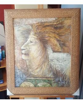 Cuadro Etnico Africano Original Oleo El Rey Leon Pintado a mano marco artesanal Home