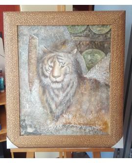 Cuadro Etnico Africano Original Oleo Tigre Felino Pintado a mano marco artesanal