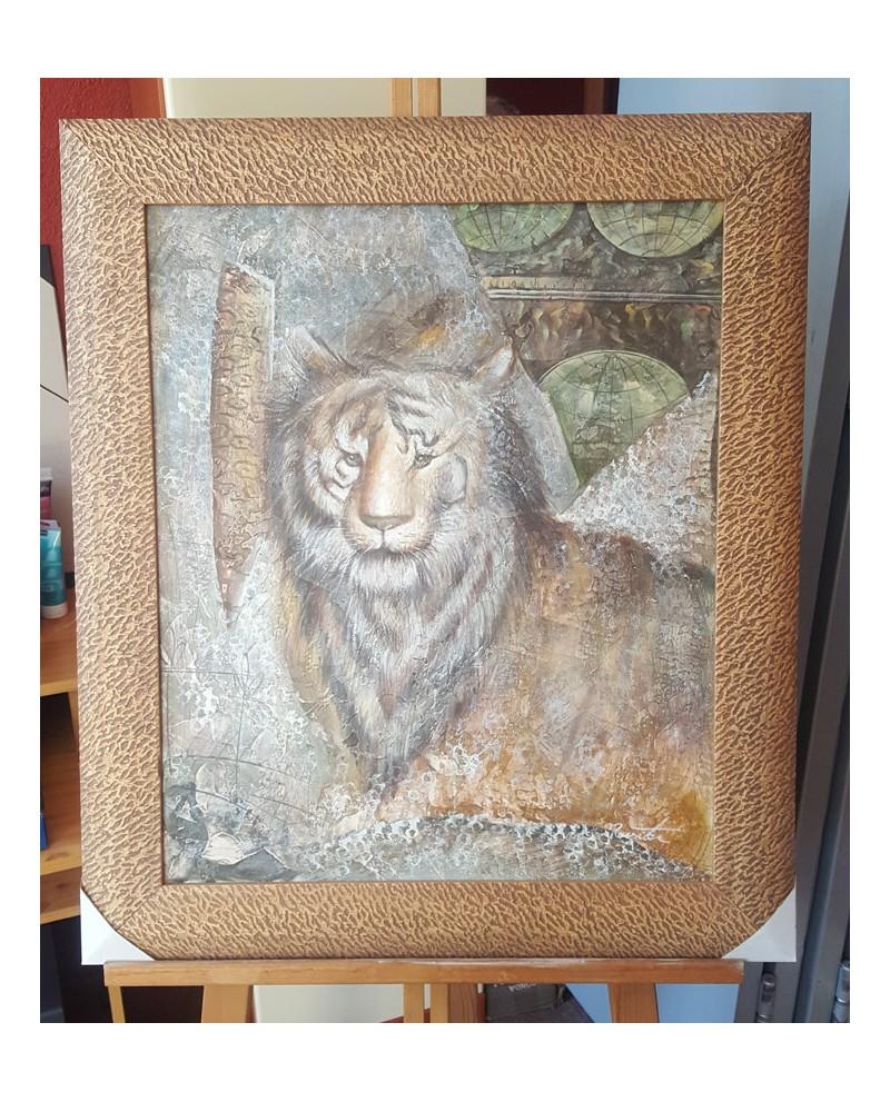 Cuadro Etnico Africano Original Oleo Tigre Felino Pintado a mano ma...