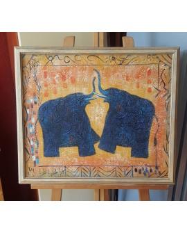 Cuadro Etnico Africano Original Oleo elefantes de la suerte Pintado a mano 65x56 cm Home