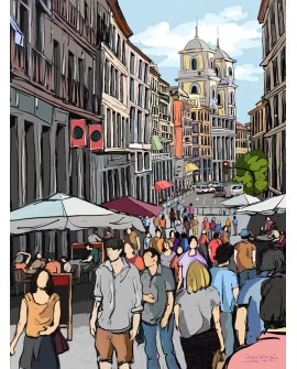 Pintor Jose Alcala Cuesta De La Calle Toledo Con Iglesia De San Isidro
