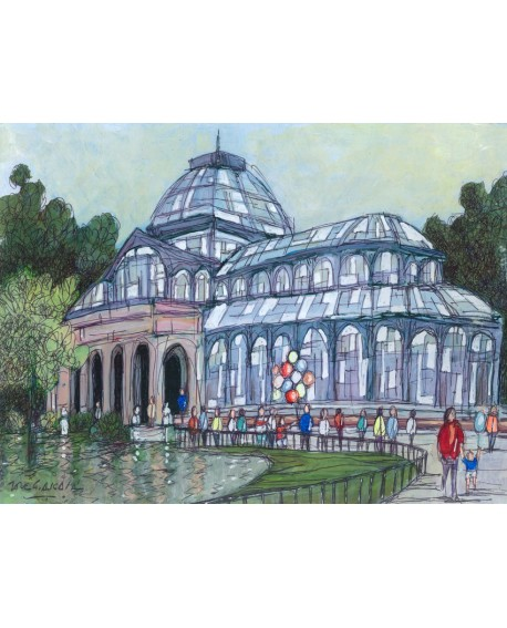 Cuadro Jose Alcala palacio cristal del retiro Madrid estilo naif Home