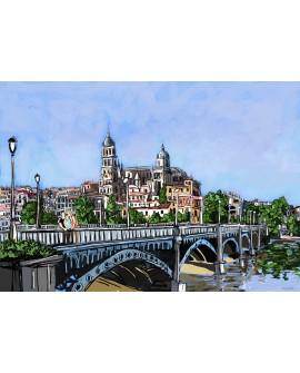 Salamanca Catedral puente y rio Tormes de Jose Alcala Home